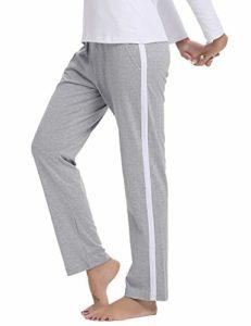 Hawiton Pantalon de Sport Femme 100% Coton Stripe Pantalon décontracté Pantalon de Jogging Pantalon d'entraînement Fitness Taille Haute Long Coton