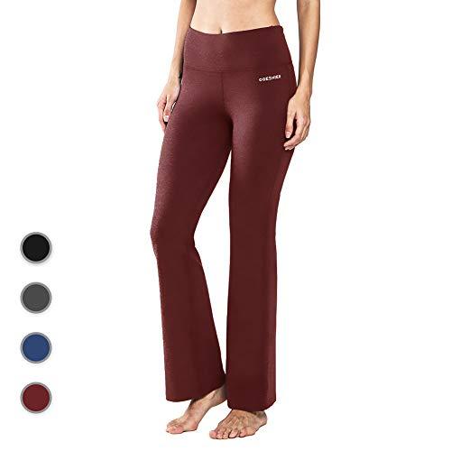 Ogeenier Femme Pantalon de Yoga Taille Haute en Coton avec Poches Bootcut Pantalon de Sport Pilate Causal