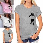 Sunnywill T-Shirt Femme Imprimé Chat, Blouse Ample à Manches Courtes Pulls Casual