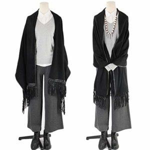 TYJH Châle Automne Et Hiver Cachemire Plus Dames Côté Cuir Mode Chaud Épais Épais Châle,Black