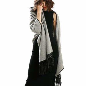 TYJH Châle Automne Et Hiver Cachemire Plus Dames Côté Cuir Mode Chaud Épais Épais Châle,Lightgray