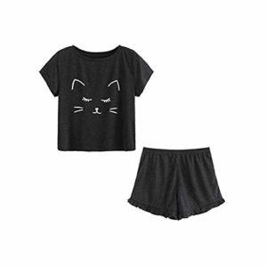 ZEELIY Ensemble Pyjama Femme Modèle de Chat Fille de Mode Short à Manches Courtes