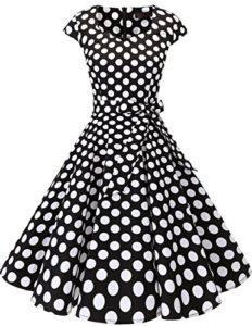 DRESSTELLS Version 6.0 Vintage 1950's Robe de soirée Cocktail rétro Style années 50 Manches Courtes, Black White Dot M