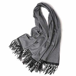 TYJH Châle Automne Et Hiver Cachemire Plus Dames Côté Cuir Mode Chaud Épais Épais Châle,Darkgray