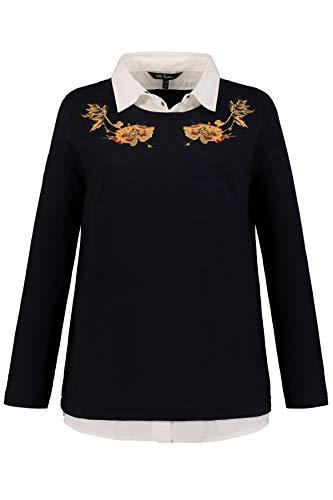 Ulla Popken Sweatshirt Hemdblusen Einsatz Stickerei Sweat-Shirt, Bleu (Dunkelblau 70), 52 (Taille Fabricant: 50+) Femme