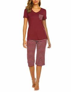 UNibelle Pyjama Shorty pour Femme avec Shorty et t-Shirt de Nuit à Manches Courtes avec Poches