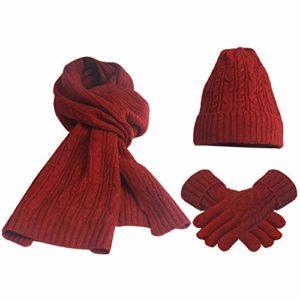 FEOYA Lot de 3 PCS Ensemble Bonnet + Echarpe + Gants Tricot Femme Chapeau en Laine et Acrylique Hiver Chaud Rouge