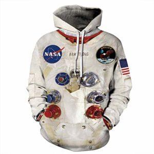 FUAOVHI Unisexe Sweat 3D Sweatshirts Laisser Refroidir à Capuche Big Poches Doublure en Polaire en Peluche,XL