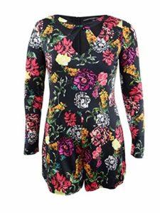 GUESS Women's Long Sleeve Laurena Romper, Room of Blooms, XL