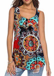 KISSMODA Chemises d'été pour Femmes Tuniques à Plis Floraux plissés Hauts XLarge