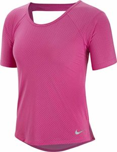 Nike Miler Breathe T-Shirt Femme Active Fuchsia/Reflective Silver FR : S (Taille Fabricant : S)