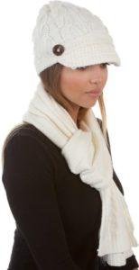 Sakkas ATES870VB Ensemble écharpe et bonnet en maille Vanessa – crème/taille unique