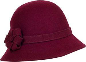 Sakkas Chapeau Cloche Femme Laine Style Rétro Molly – Burgundy – One Size