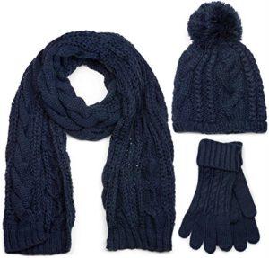 styleBREAKER Ensemble composé d'une écharpe, d'un bonnet et de gants, écharpe loop avec motif tricoté, bonnet à pompon et gants, femmes 01018208, couleur:Bleu foncé/écharpe