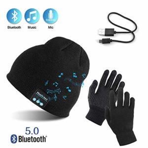 TAGVO AYPOW Bonnet Bluetooth avec Gants tactiles, Hiver Chaud tricoté sans Fil Bluetooth Casque Musique Chapeau pour la Course à Pied, randonnée, Cadeau de Noël