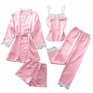 ZEELIY Femme Chic Peignoir Pyjama Ensemble Dentelle Robe Nuisette Vêtements De Pyjama Kimono Sexy en Dentelle + Robes de Cardigan Ensemble + Short de Pyjama WA_Rose XXL