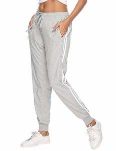 Aibrou Pantalon de Sport Femmes,100% Coton Pantalons de Survêtement Long pour Jogging Running Fitness Pantalon de Training, Gris A, M