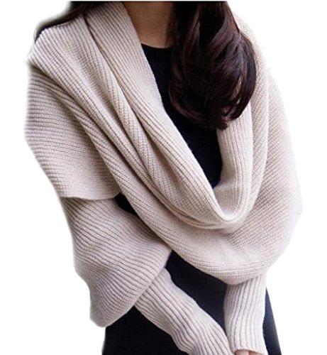 Bigood Echarpe Châle Femme Crochet Coton Foulard Pashmina Pull à Manches Longues Beige