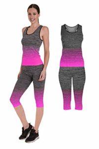 Bonjour – Vêtements de sport pour femmes: ensemble 2 pièces haut court ou débardeur/legging, extensible pour yoga et gymnastique, Pink Space Dye Vest Top, One Size ( UK 8 – 14 )