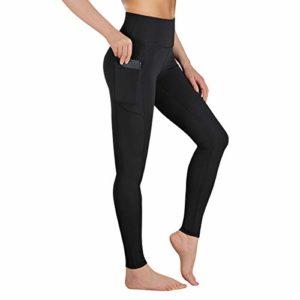 Gimdumasa Leggings de Sport Femmes Pantalon de Yoga Leggins avec Poches Yoga Fitness Gym Pilates Taille Haute Gaine GI188 (Noir, XL)