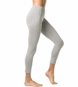 LAPASA Legging Femme Pantalon de Sport avec Poches Yoga Fitness Gym Pilates Taille Haute Gaine Large L01, 13. Gris Chiné, XL