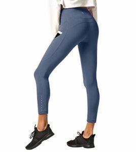 LAPASA Legging Femme Pantalon de Sport avec Poches Yoga Fitness Gym Pilates Taille Haute Gaine Large L01, 27. Gris-bleu (Poches Sur les Côtés), XL