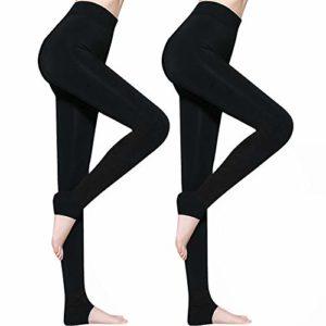 Lot de 2 Legging Femme Hiver, Legging Thermique Femme Legging Hiver, Leggings pour Femmes Pantalons Collants Élastiques Velours Taille Haute, Legging Chaud, Noir, Taille Unique