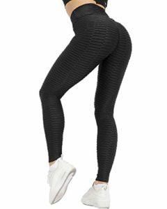 Memoryee Leggings de Compression Anti-Cellulite Slim Fit Butt Lift Elastique Pantalon de yoga taille haute avec poches sport pour femmes/Style1-Noir/M
