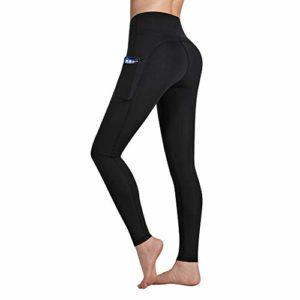 Occffy Legging de Sport Femme Pantalon de Yoga avec Poches Yoga Fitness Gym Pilates Taille Haute Gaine DS166 (Noir, M)