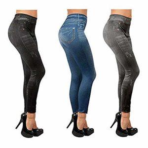ShopINess Lot de 3 Slim Jeggings, Bleu,noir, Gris, S/M