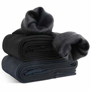 XDDIAS d'hiver Leggings pour Femmes, 2 Pack Thermique Collant Extensible Pantalon de Crayon pour Le Velours Chaud Automne Hiver, Noir et Gris, Taille Unique