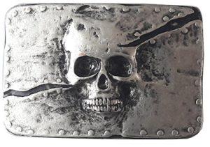 BBM-STYLE Boucle de ceinture boucle de ceinture–Skull–Tête de mort–massif travaillé–pour ruban de 3,8à 4cm de largeur
