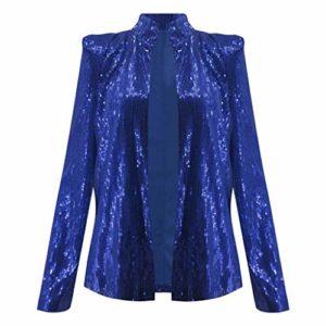 Blazer Femme Chic Brillant Paillettes Cardigan Blouson Manche Longue Mode Élégant Veste de Tailleur Pas Cher, pour Fête, Discothèque, Clubbing