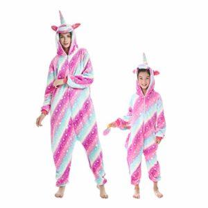 DEBAIJIA Enfant Pyjamas Animal en Flanelle Jumpsuit Garçons Filles Vêtements De Nuit Chaud Onesie,Ciel,115(Hauteur recommandée: 120-130cm) Étiquette:130