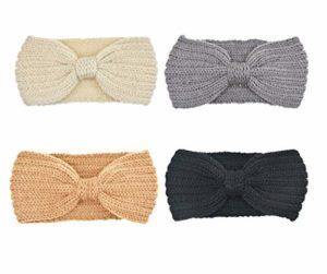 DRESHOW 4 Pièces Femme Crochet Tricot Turban Bandeaux Bande de Cheveux Chauffe Oreille (4 Color Pack E)