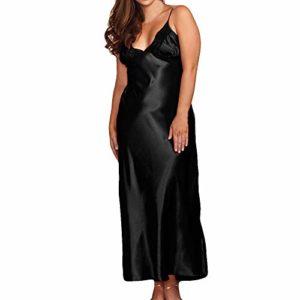 iLPM5 Femme Robe De Nuit en Satin Nuisette Sexy Sleepwear 2019 Nouveau Col V Dentelle Automne Hiver Chaud sous Vetement Lâche Grande Taille Casual Chic Peignoirs de Bain(Noir,M)