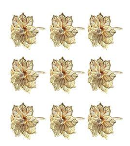 KELAND Anneau de Serviette en Or 6PX pour Mariage en Famille ou fête de Mariage (Perle, Or) décoration de Mariage (Fleur, Or) (Or)