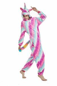 Licorne Adulte Flanelle Pyjama Combinaison Animaux Unicorn ,Rose Star,M fit for Height 155-165CM (61po-65po)