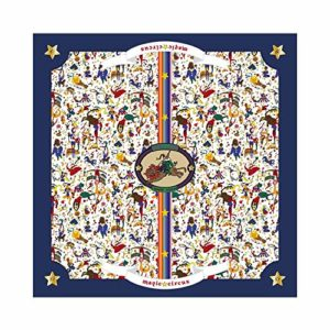 PIERO GUIDI Foulard 100% soie Magic Circus blanc avec bords bleus 270R66059_15