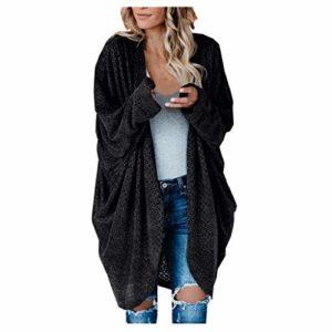 STYLEEA Femme Cardigan Long en Tricot Grande Taille Automne Hiver Chaud Lâche Chandail Mode Chic Élégant Couleur Unie Tricoté Pulls Manteau Casual Quotidien Confortable Sweater Outwear