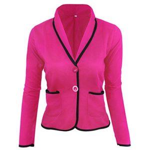 TOFOTL Blazer Veste de Loisirs à Manches Longues pour Femme – Rose – XXXL