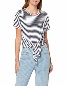 Tommy Jeans Femme Front Tie Contrast Rib Tee Pull de sport Bleu (Black Iris/ Classic White 002) Medium