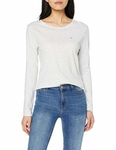 Tommy Jeans Femme Soft Jersey Longsleeve Pull de sport Gris (Pale Grey Heather 090) Medium