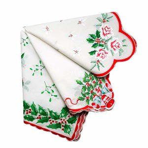 Vacances de Noël Rouge Vert Coton pour femme Imprimé Mouchoirs Mouchoir Hanky- Lot de 3