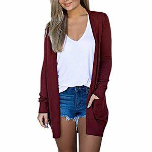 VANMO Cardigan Femme,Cardigans à Manches Longues Femme Couleur Unie Cardigan avec Poche 2019 Nouveau Vetement Grande Taille Manteau Hiver Gilet Rouge Femme Sweat Rouge