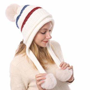 VANMO Chapeau d'hiver Nouveau Chapeau d'hiver Casual Chaud pour Dames Bonnet De Laine Casquette De Ski Bonnet Femme Béret Femme Bonnet à 3 Pompons Grande Taille