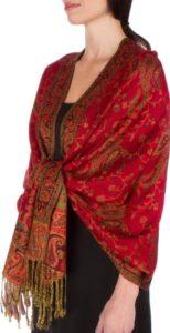 178cm x 71cm Double épaisseur Jacquard Cachemire Viscose Pashmina Châle / Echarpe / Etole – Rouge