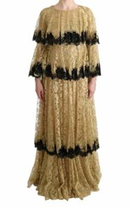 Dolce & Gabbana Gold Black Floral Lace Gown Dress, IT44|L