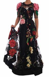 Dolce & Gabbana Robe en Dentelle Motif Floral – Noir – 34 FR S