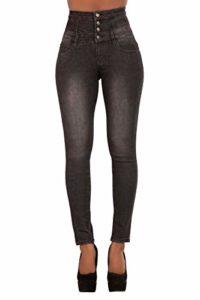 Glook Pantalon Femme Denim Jeans Slim Taille Haute Jean Stretch Pant (42, Noir fané)